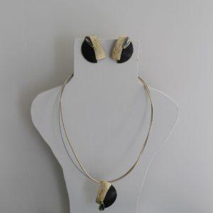 Set korte halsketting & oorbellen Brons